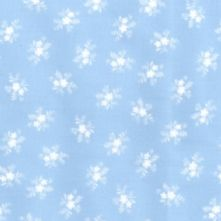 100% Cotton Pale Blue with White Floral Print Fabric x 0.5m